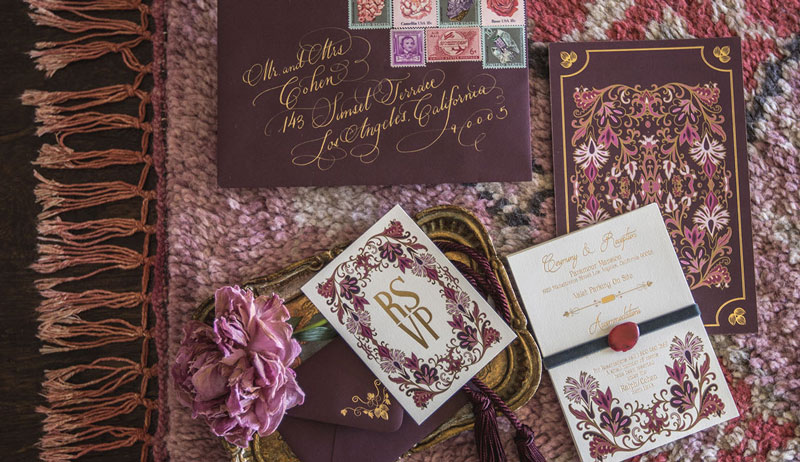 Plum and Mauve Invitation Suite by Calligraphy Katrina