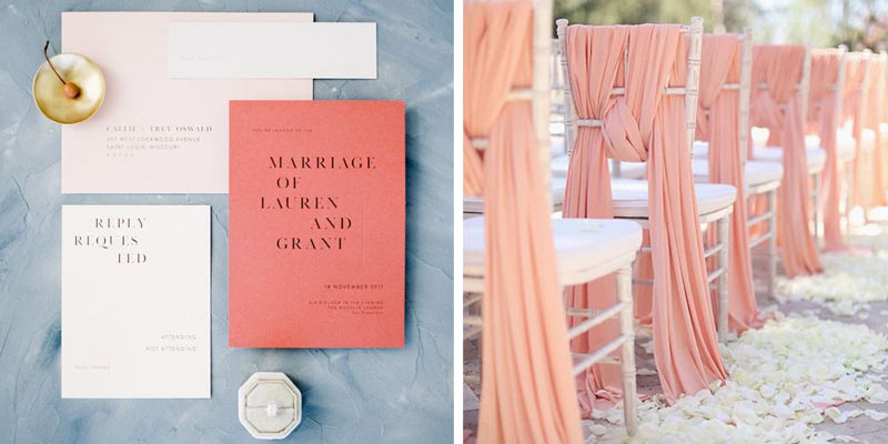 Coral Wedding Invitations and Chair Decor
