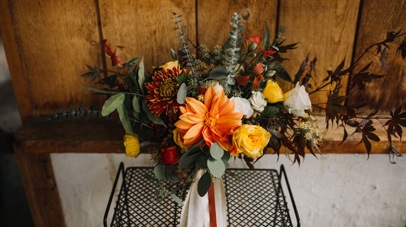 Bridal Bouquet with orange dahilas and yellow roses