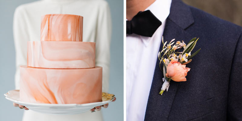 Coral Wedding Cake and Coral Boutonniere