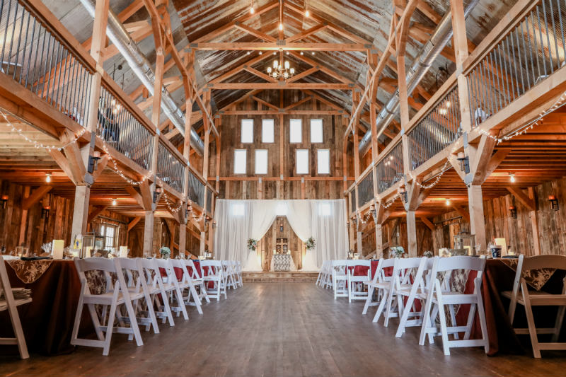 Gambrel Barn set up for ceremony and reception