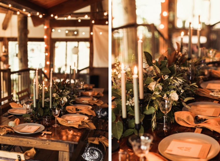 Tablescape with wild greens and spray roses