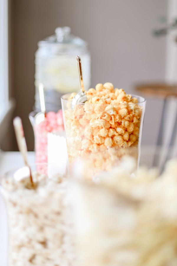 Close up of popcorn containers
