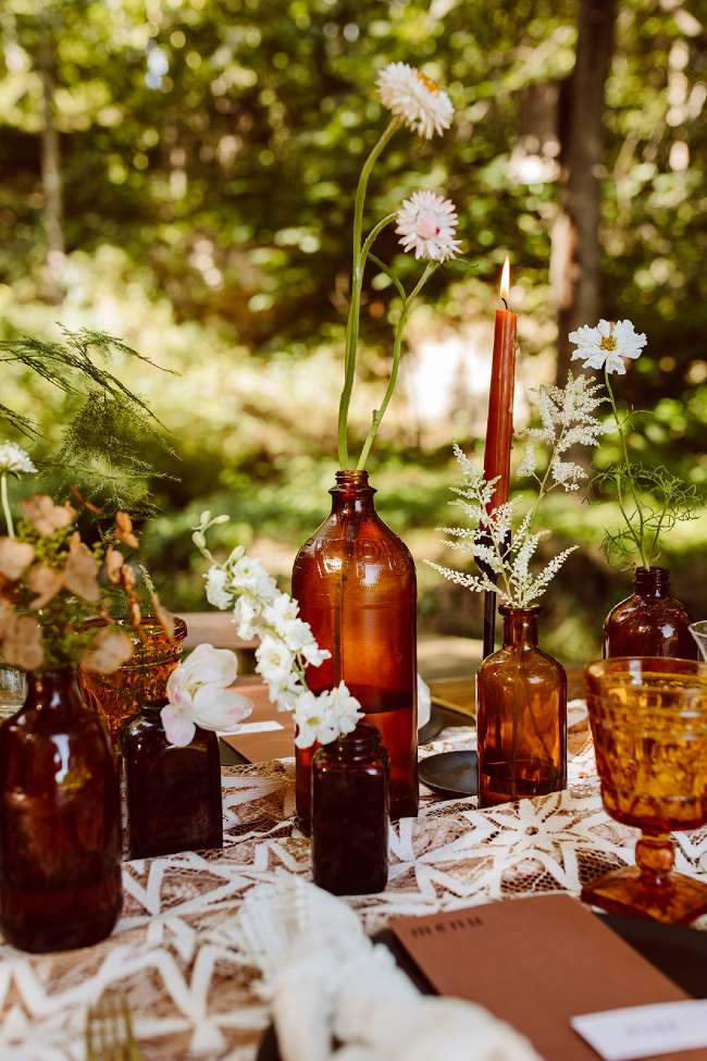 Brown and White Table Decor
