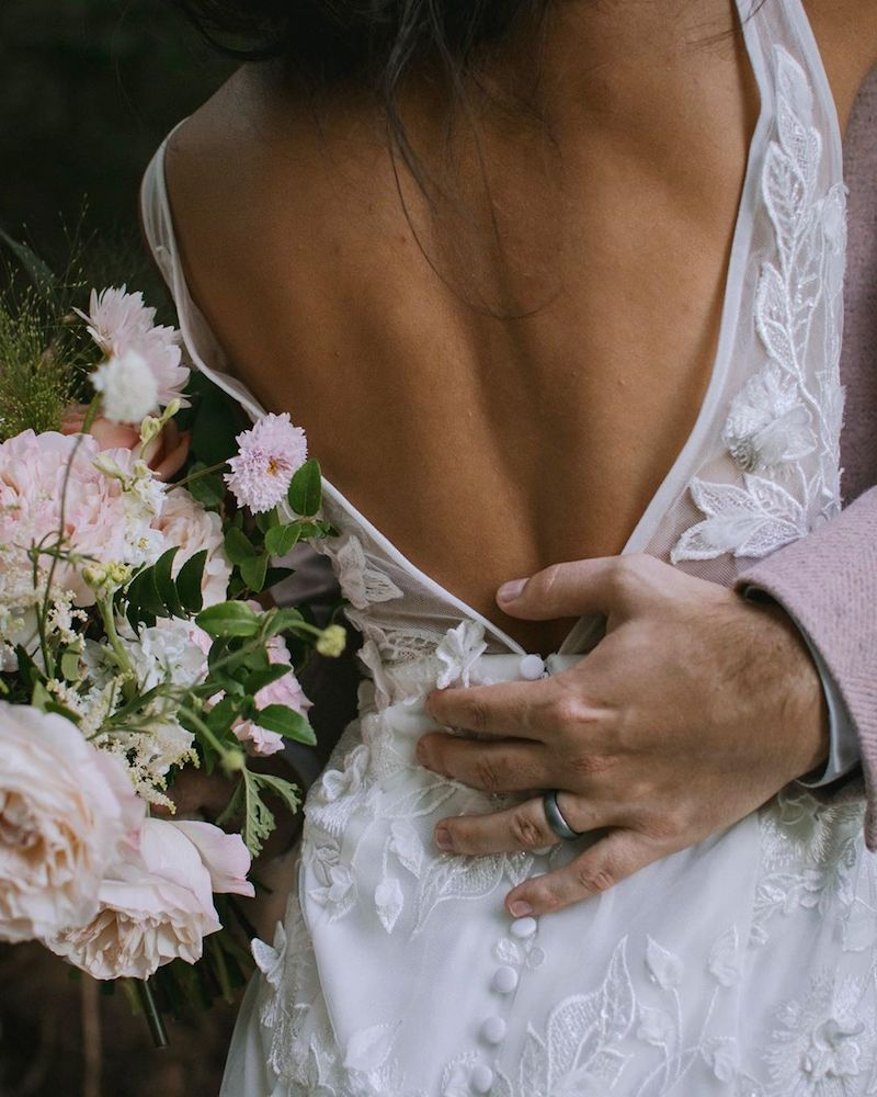 Detail shot of flowers and lace