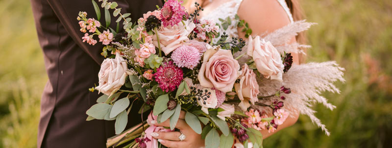Monochromatic Mauve Bridal Bouquet