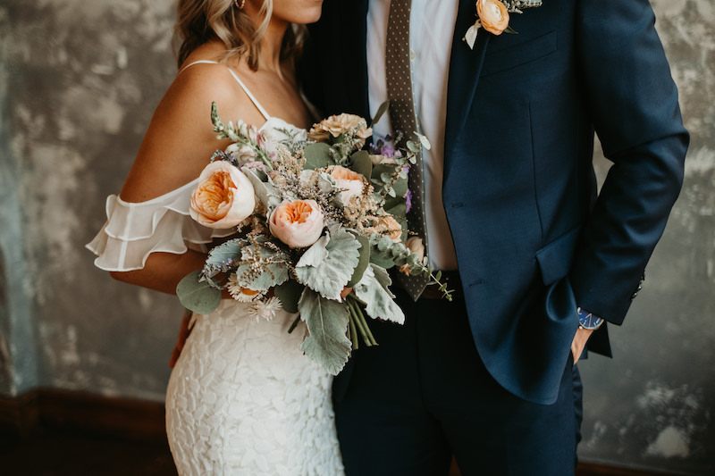 Couple with bouquet