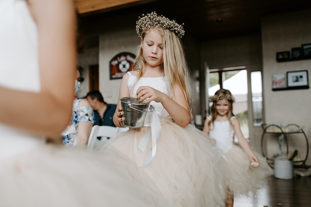 Flower girl with baby's breath floral crown