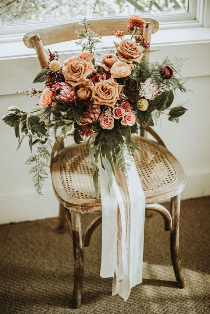 Bridal Bouquet with Protea and Toffee Roses