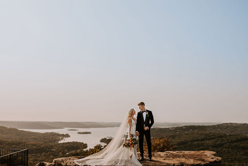 Bride and Groom overlooking Table Rock Lake