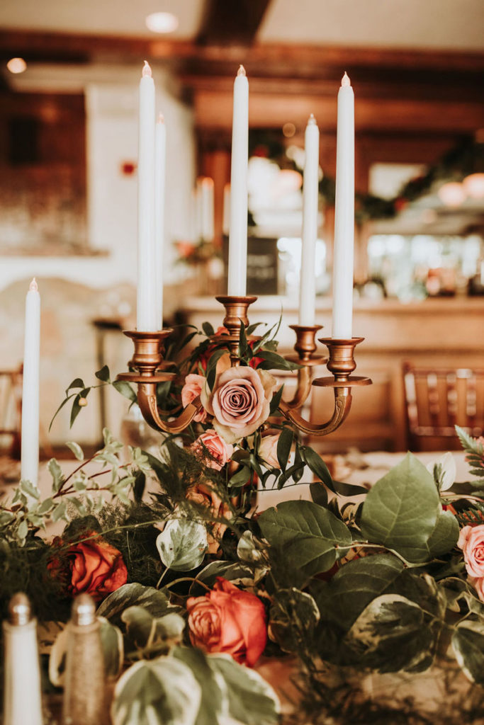 Candelabra covered in flowers