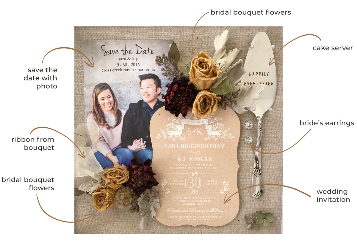 Wedding shadow box with each detail labeled
