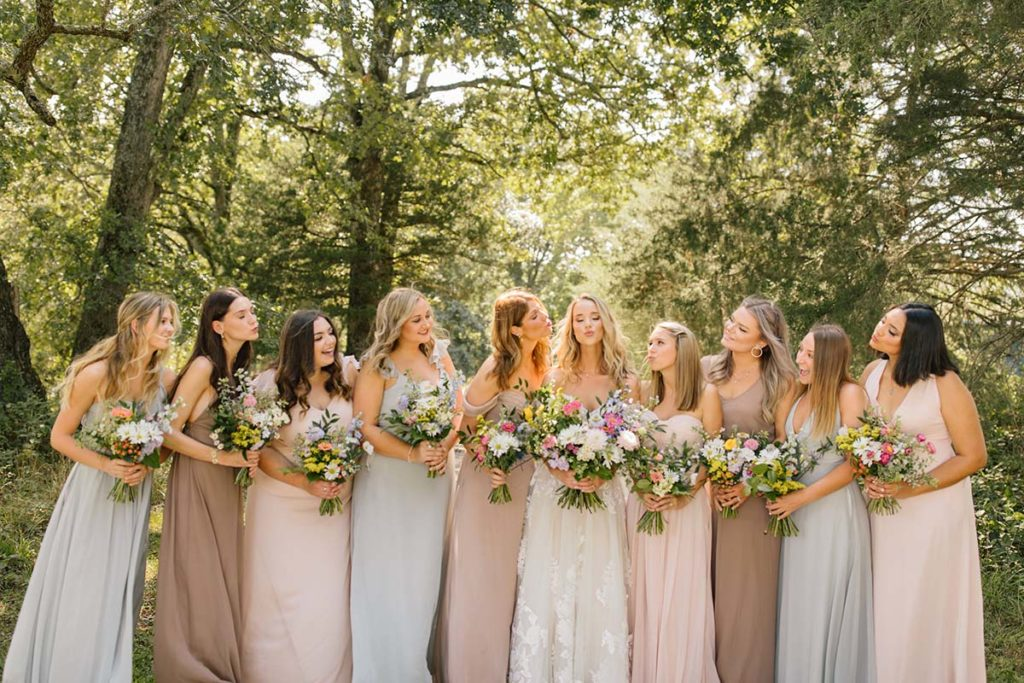 Bridesmaids with Wildflower Bouquets