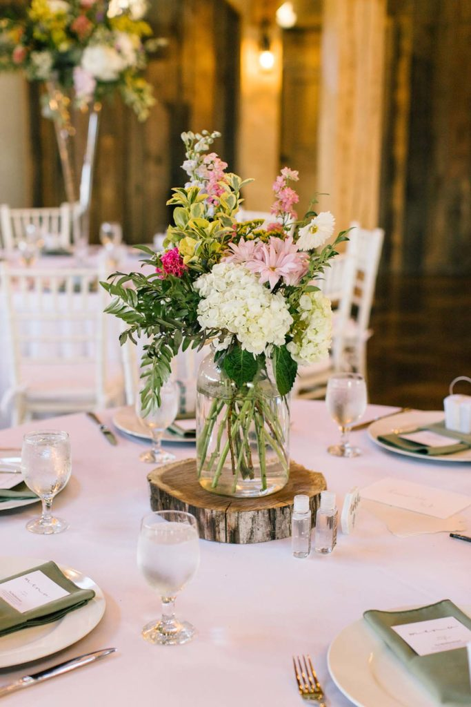 Wildflower arrangement in the center of the table