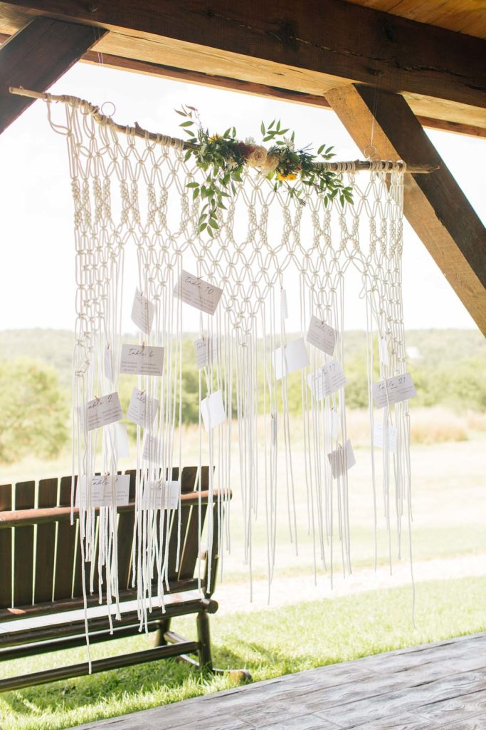Macrame Seating Chart from Vintage Rental Company
