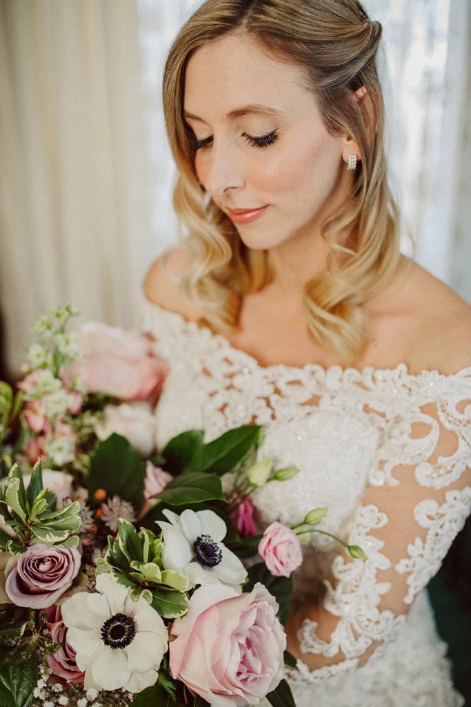 Bride with lush bridal bouquet