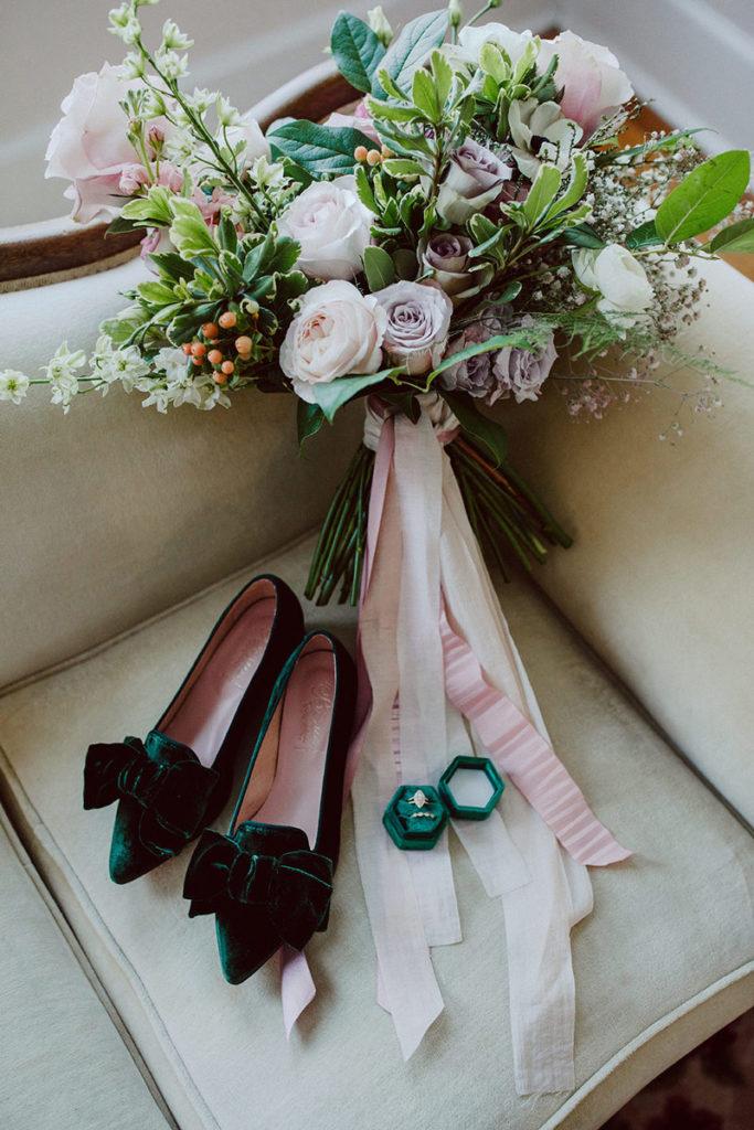 Bridal bouquet with velvet emerald shoes
