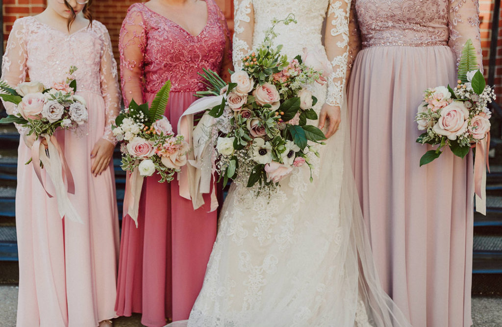 Blush and lavender garden-style bouquets