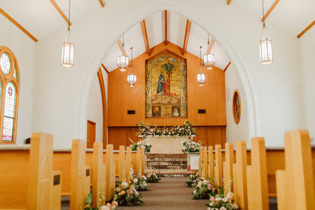 Chapel at Elfindale decked out in flowers