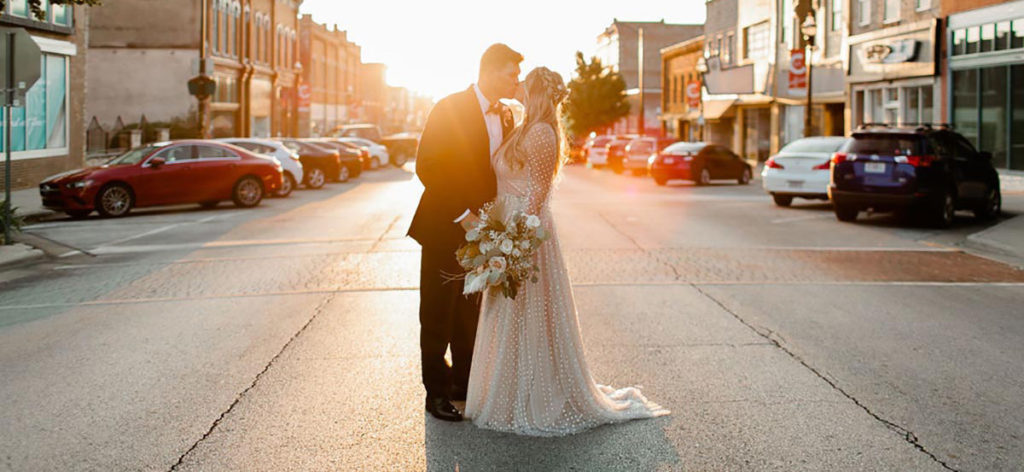 Wedding kiss on Commercial Street