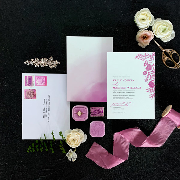 Daisy invitation flat lay in Hot Pink
